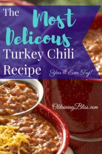 This super easy turkey chili recipe will hit the spot when you need a filling meal that warms you up and tastes amazing! So easy to make and save for later! #chili #stews #meals #makeahead #eats #food #healthy #filling